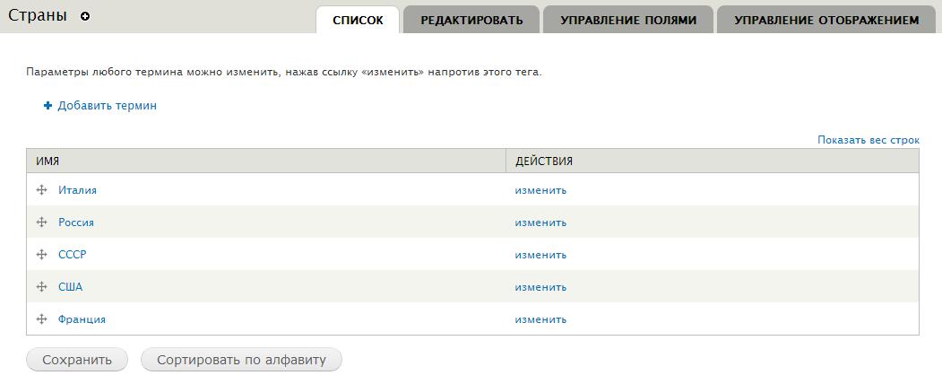 Словарь таксономии Страны